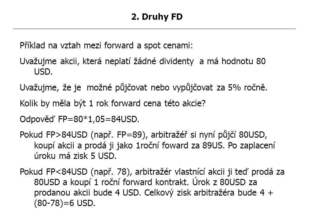 Příklad na vztah mezi forward a spot cenami: Uvažujme akcii, která neplatí žádné dividenty a má hodnotu 80 USD.