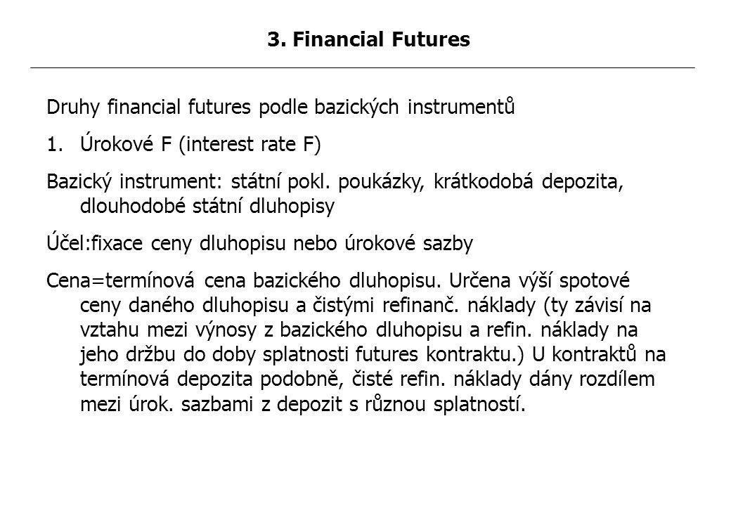 Druhy financial futures podle bazických instrumentů 1.Úrokové F (interest rate F) Bazický instrument: státní pokl.