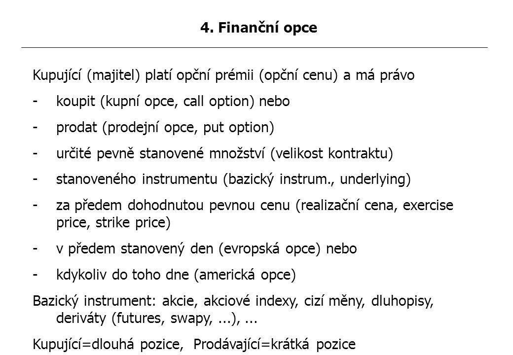Kupující (majitel) platí opční prémii (opční cenu) a má právo -koupit (kupní opce, call option) nebo -prodat (prodejní opce, put option) -určité pevně stanovené množství (velikost kontraktu) -stanoveného instrumentu (bazický instrum., underlying) -za předem dohodnutou pevnou cenu (realizační cena, exercise price, strike price) -v předem stanovený den (evropská opce) nebo -kdykoliv do toho dne (americká opce) Bazický instrument: akcie, akciové indexy, cizí měny, dluhopisy, deriváty (futures, swapy,...),...