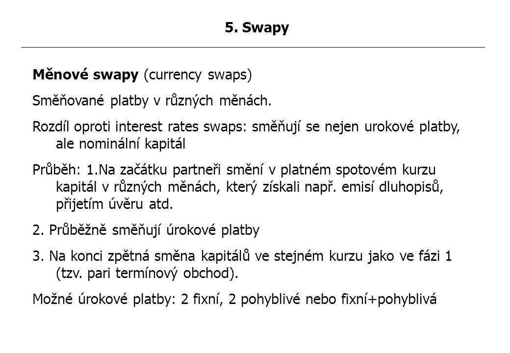 Měnové swapy (currency swaps) Směňované platby v různých měnách.