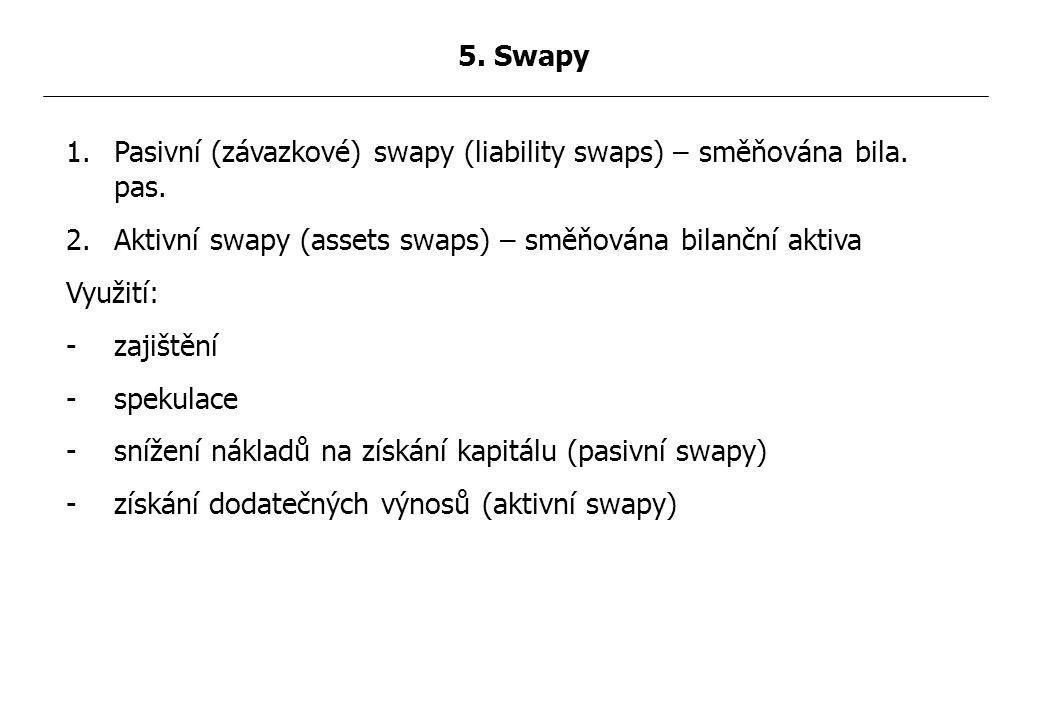 1.Pasivní (závazkové) swapy (liability swaps) – směňována bila.