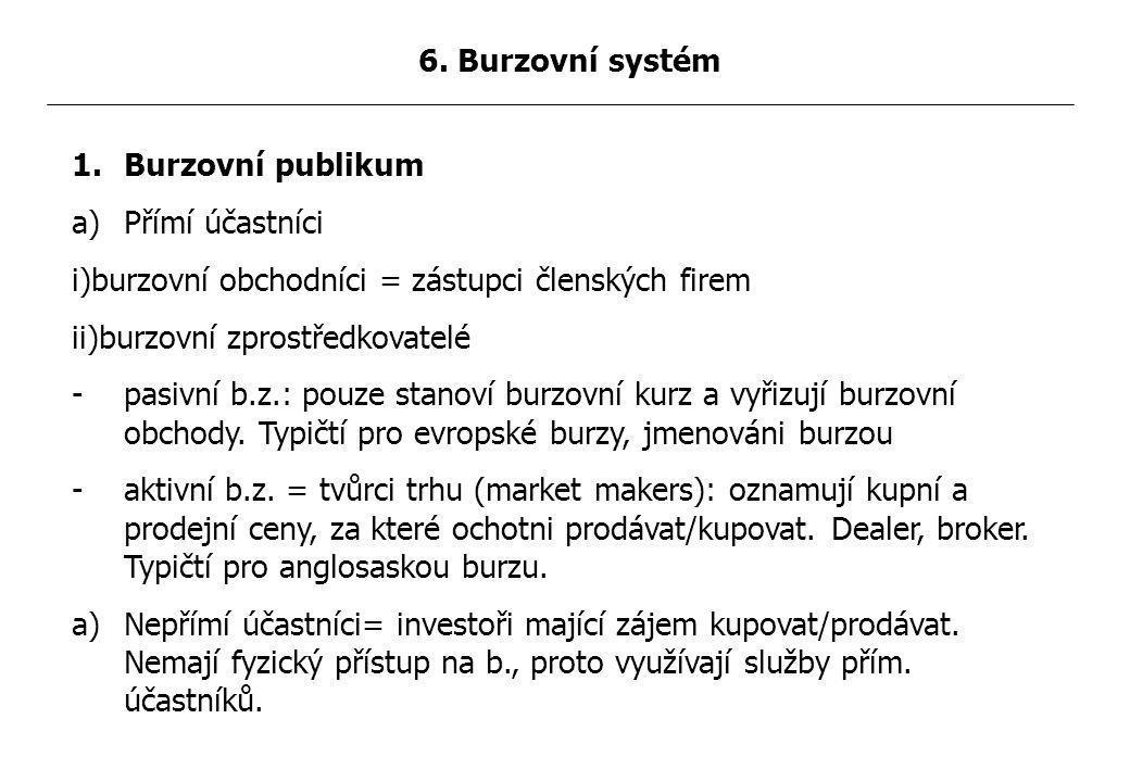 1.Burzovní publikum a)Přímí účastníci i)burzovní obchodníci = zástupci členských firem ii)burzovní zprostředkovatelé -pasivní b.z.: pouze stanoví burzovní kurz a vyřizují burzovní obchody.