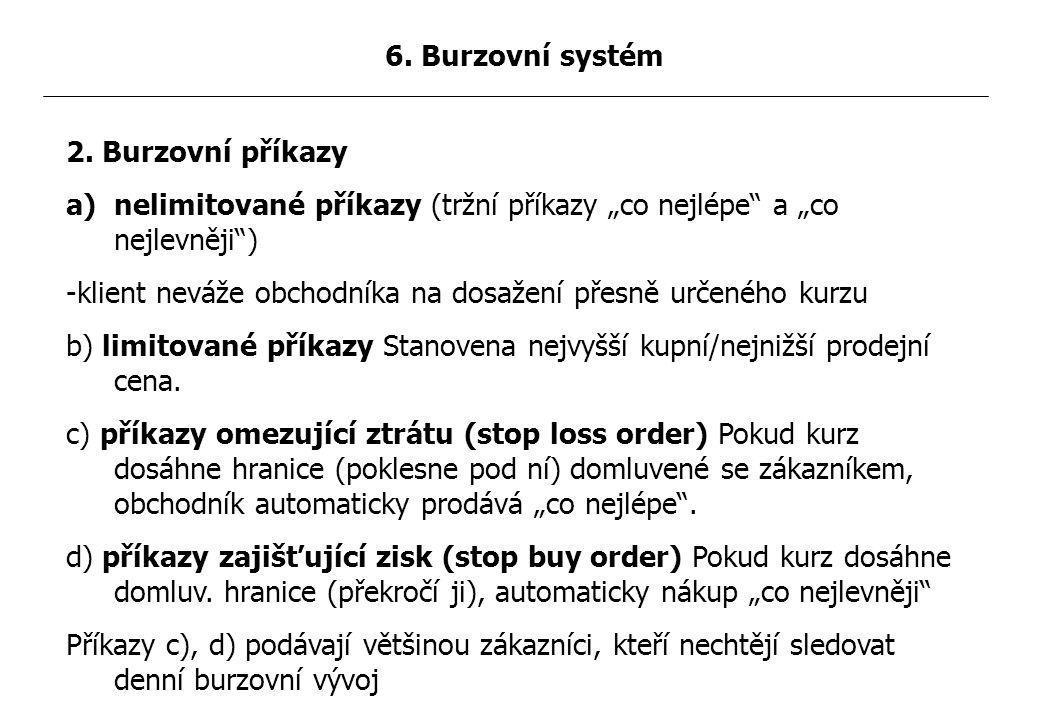 """2. Burzovní příkazy a)nelimitované příkazy (tržní příkazy """"co nejlépe"""" a """"co nejlevněji"""") -klient neváže obchodníka na dosažení přesně určeného kurzu"""