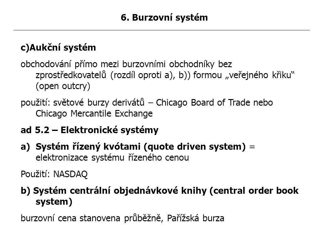 """c)Aukční systém obchodování přímo mezi burzovními obchodníky bez zprostředkovatelů (rozdíl oproti a), b)) formou """"veřejného křiku (open outcry) použití: světové burzy derivátů – Chicago Board of Trade nebo Chicago Mercantile Exchange ad 5.2 – Elektronické systémy a)Systém řízený kvótami (quote driven system) = elektronizace systému řízeného cenou Použití: NASDAQ b) Systém centrální objednávkové knihy (central order book system) burzovní cena stanovena průběžně, Pařížská burza 6."""