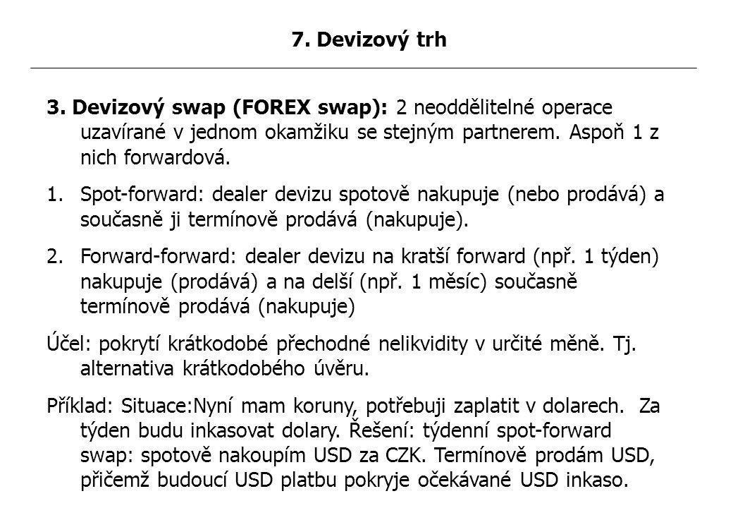 3. Devizový swap (FOREX swap): 2 neoddělitelné operace uzavírané v jednom okamžiku se stejným partnerem. Aspoň 1 z nich forwardová. 1.Spot-forward: de