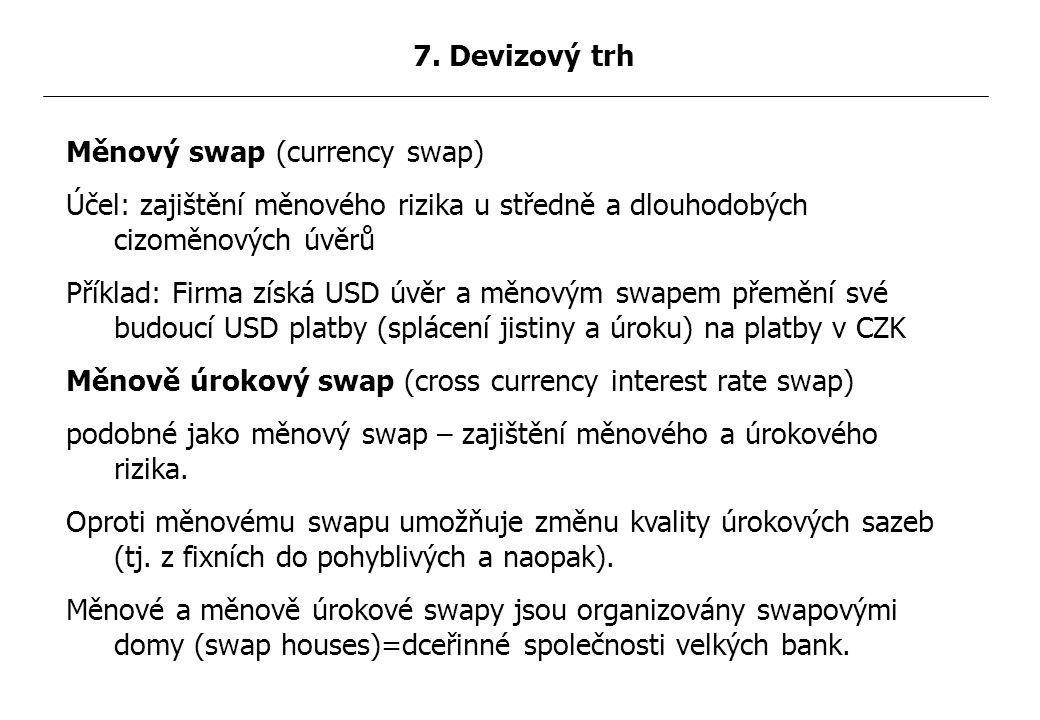 Měnový swap (currency swap) Účel: zajištění měnového rizika u středně a dlouhodobých cizoměnových úvěrů Příklad: Firma získá USD úvěr a měnovým swapem přemění své budoucí USD platby (splácení jistiny a úroku) na platby v CZK Měnově úrokový swap (cross currency interest rate swap) podobné jako měnový swap – zajištění měnového a úrokového rizika.
