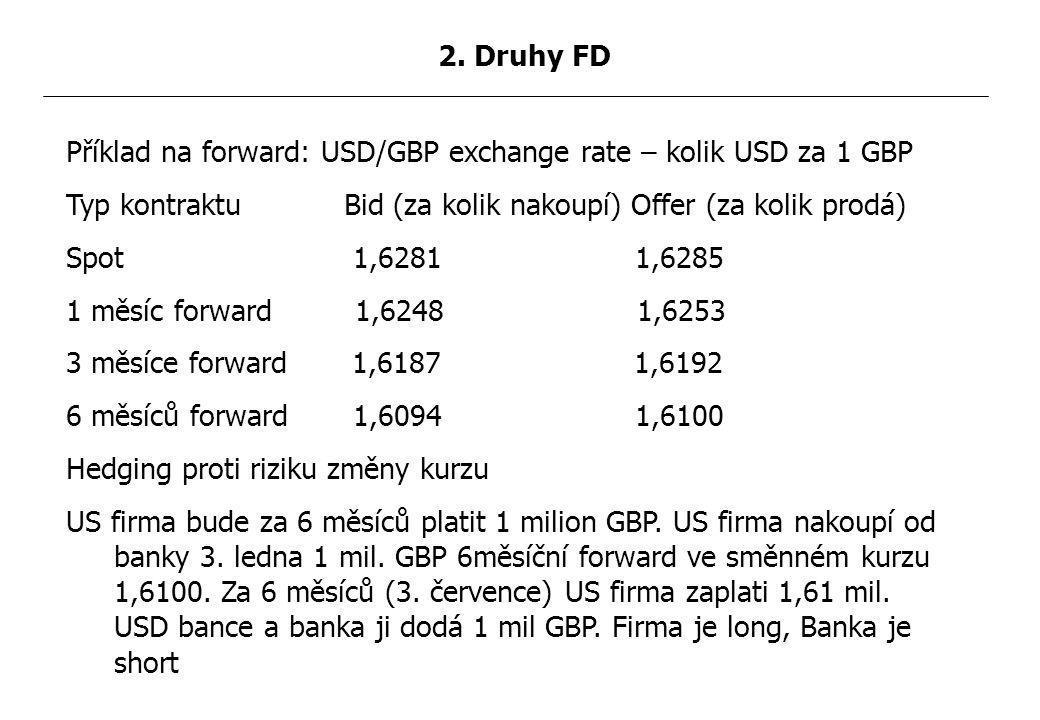Příklad na forward: USD/GBP exchange rate – kolik USD za 1 GBP Typ kontraktu Bid (za kolik nakoupí) Offer (za kolik prodá) Spot 1,6281 1,6285 1 měsíc forward 1,6248 1,6253 3 měsíce forward 1,6187 1,6192 6 měsíců forward 1,6094 1,6100 Hedging proti riziku změny kurzu US firma bude za 6 měsíců platit 1 milion GBP.