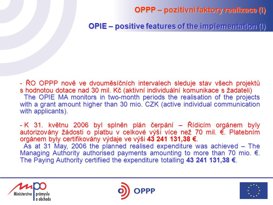 OPPP – pozitivní faktory realizace (I) OPIE – positive features of the implementation (I) - ŘO OPPP nově ve dvouměsíčních intervalech sleduje stav všech projektů s hodnotou dotace nad 30 mil.