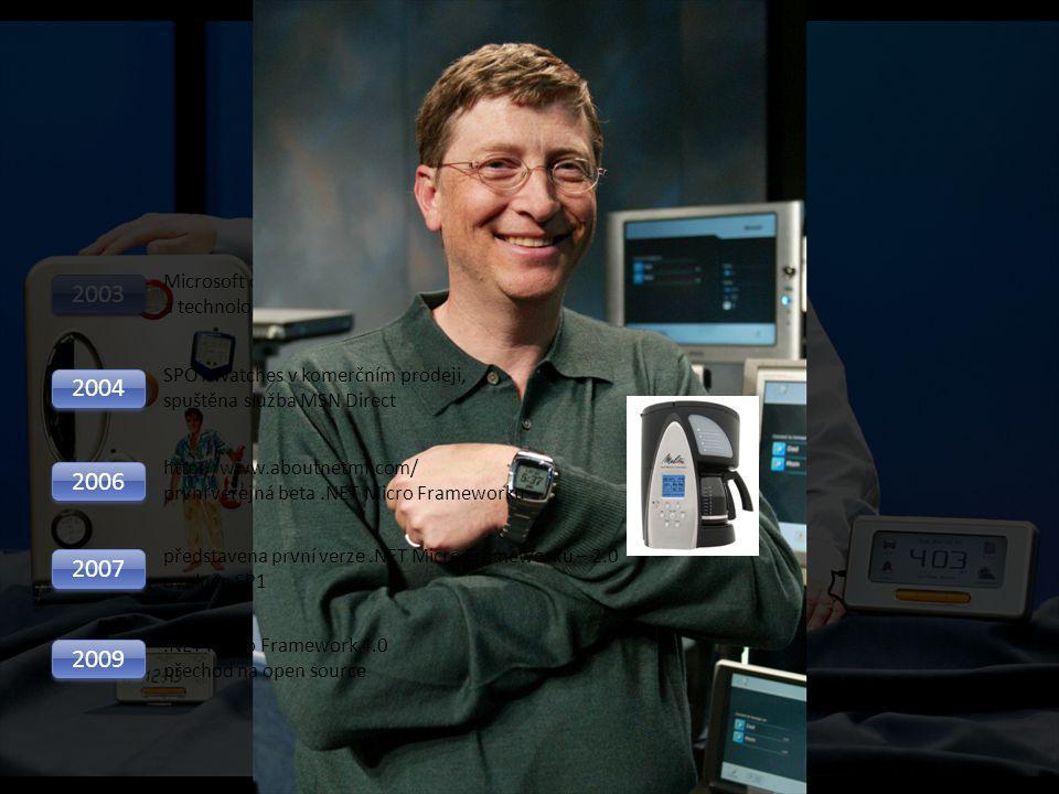 Microsoft.NET Micro Framework Vznik.NET Micro Frameworku 2000 Bill Mitchel zakládá Smart Personal Objects Team v Microsoft Research 2002 Bill Gates of