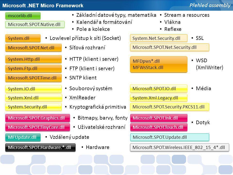 Microsoft.NET Micro Framework Práce s resources Identifikace typem short Vlastní System.Resources.ResourceManager Pomocná třída Microsoft.SPOT.ResourceUtility Automaticky generované metody - Resources.GetString(id) / GetBitmap(id) / GetFont(id) / GetBytes(id) Podpora základních formátů obrázku - BMP, GIF a JPEG - Bitmapy 1-bitové indexované; 24-, 32-, 48-bitové RGB; 16-bitové RGB 555 a 556 - BMP jako resource nejdou modifikovat přímo - Zobrazení na displej stejně velké bitmapy metodou Flush - Nelze vytvářet nové bitmapy určeného formátu - Nelze přistupovat na bitmapová data přímo