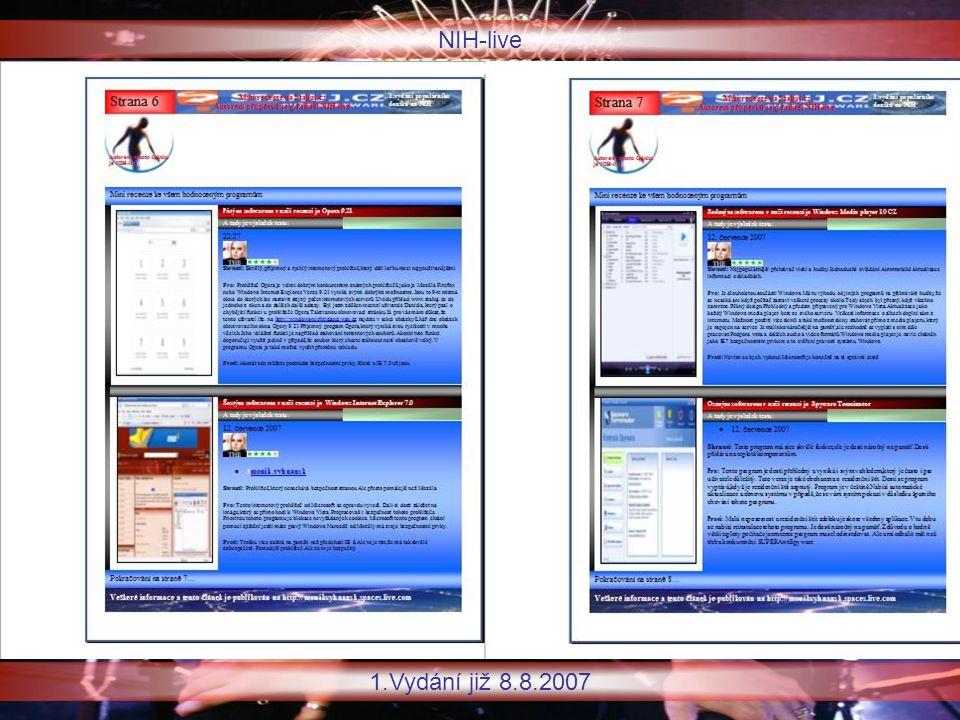 NIH-live 1.Vydání již 8.8.2007