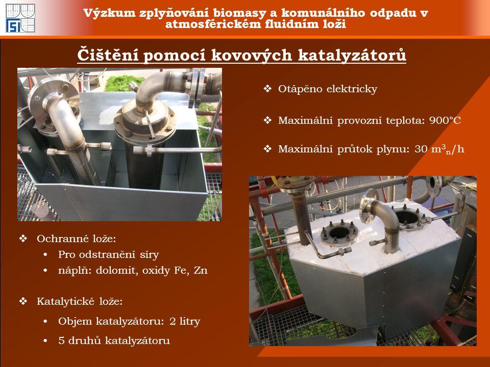 Výzkum zplyňování biomasy a komunálního odpadu v atmosférickém fluidním loži Čištění pomocí kovových katalyzátorů  Otápěno elektricky  Maximální pro