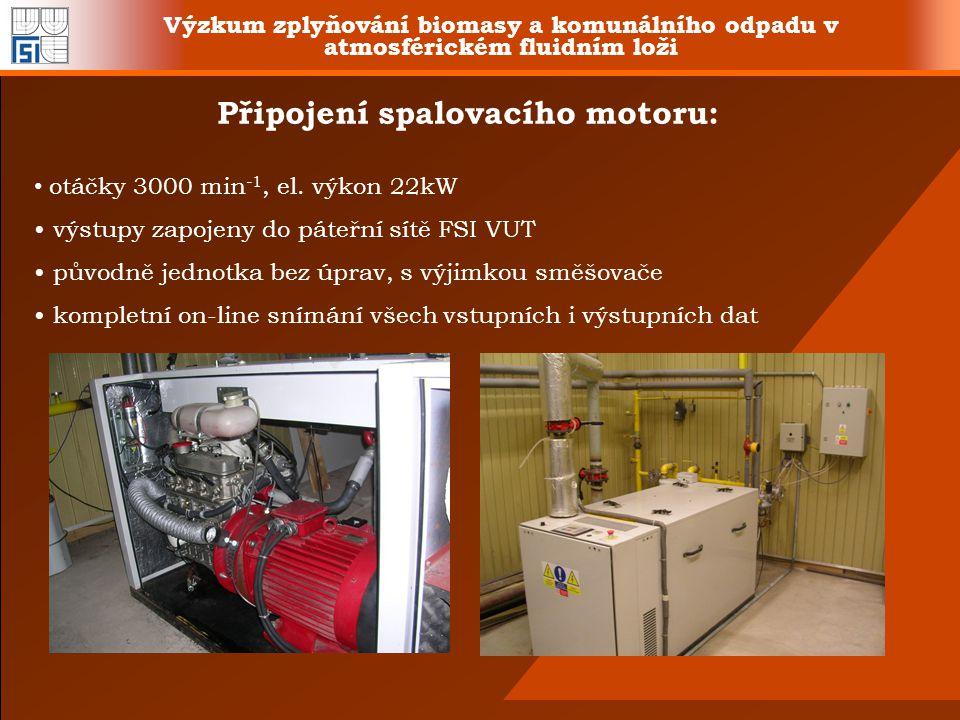 Výzkum zplyňování biomasy a komunálního odpadu v atmosférickém fluidním loži Připojení spalovacího motoru: otáčky 3000 min -1, el. výkon 22kW výstupy