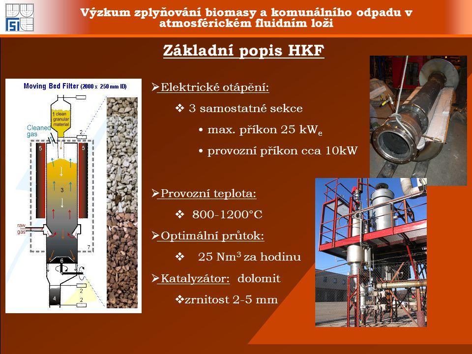 Výzkum zplyňování biomasy a komunálního odpadu v atmosférickém fluidním loži Základní popis HKF  Elektrické otápění:  3 samostatné sekce max. příkon