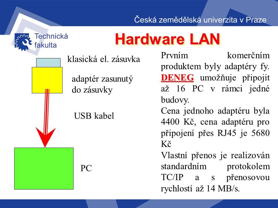 Hardware LAN Další možností propojení počítačů na kratší vzdálenost je propojení přímo pomocí elektrických rozvodů. Myšlenka je to velice lákavá, elek