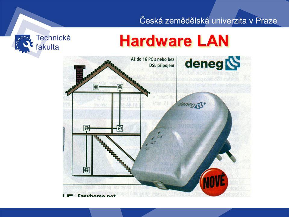 Hardware LAN klasická el. zásuvka adaptér zasunutý do zásuvky USB kabel PC DENEG Prvním komerčním produktem byly adaptéry fy. DENEG umožňuje připojit