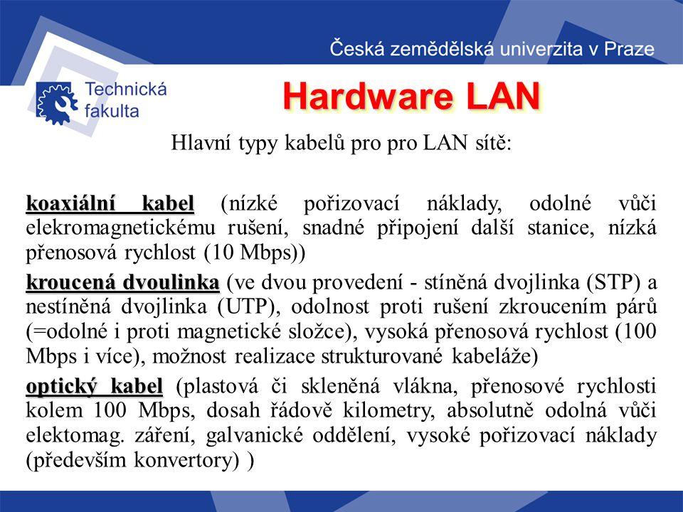 Hardware LAN Spojovací vedení a konektory: propojují jednotlivé stanice sítě mezi sebou. Základní vlastnosti spojovacího vedení využívaného v daném se