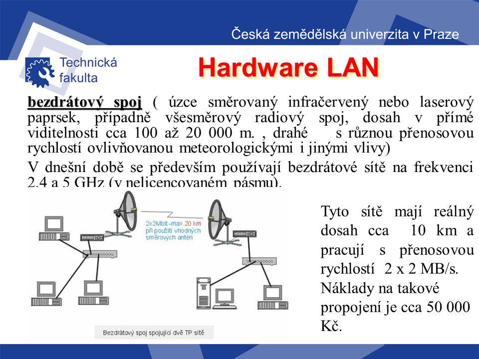 Hardware LAN Hlavní typy kabelů pro LAN sítě: koaxiální kabel kabel (nízké pořizovací náklady, odolné vůči elekromagnetickému rušení, snadné připojení