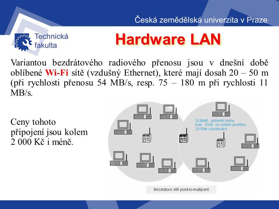 Hardware LAN bezdrátový spoj bezdrátový spoj ( úzce směrovaný infračervený nebo laserový paprsek, případně všesměrový radiový spoj, dosah v přímé vidi