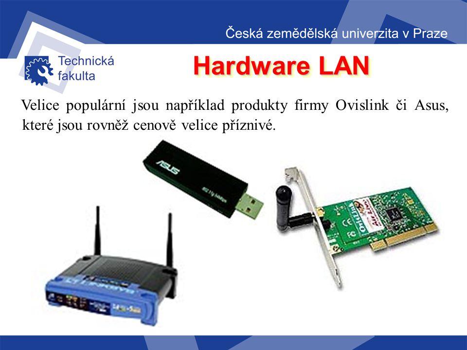 Hardware LAN Využití technologie Wi-Fi (nelicencovaného bezdrátového přenosu) je možné v několika režimech: –AP (hot-spot, přípojný bod): na toto zaří
