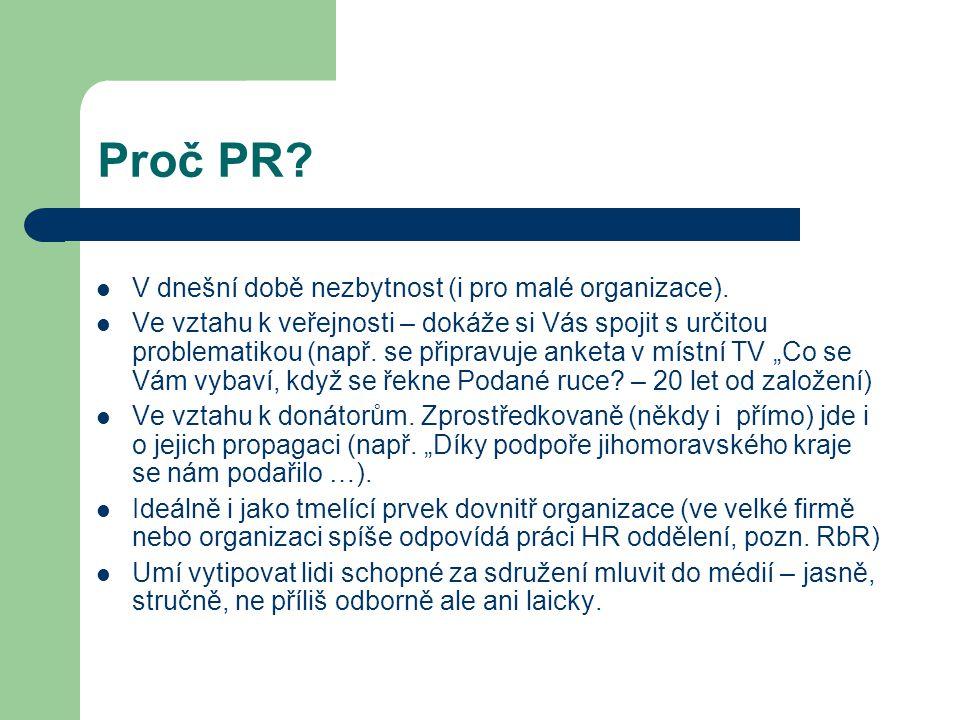 Proč PR. V dnešní době nezbytnost (i pro malé organizace).