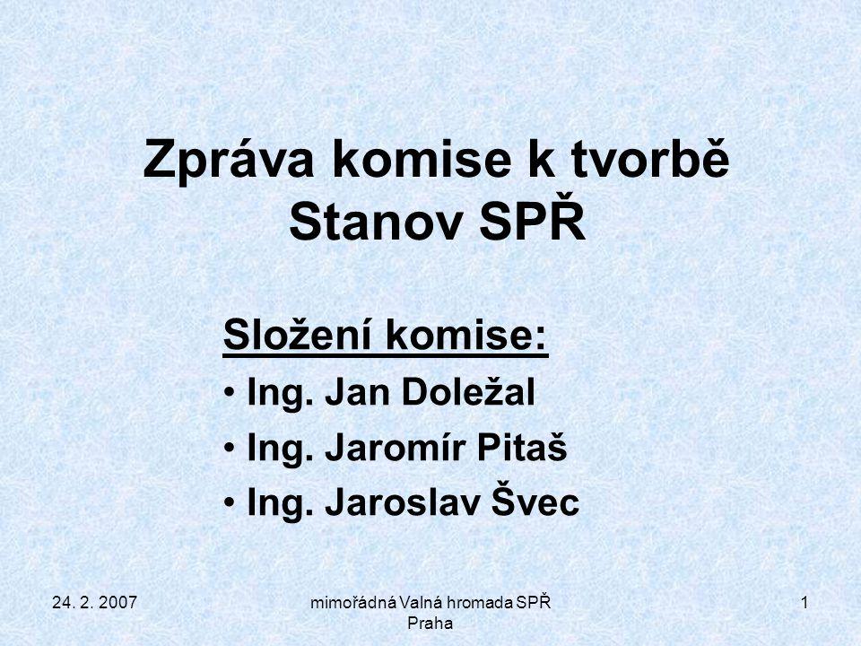24.2. 2007mimořádná Valná hromada SPŘ Praha 12 §11 bod 4.