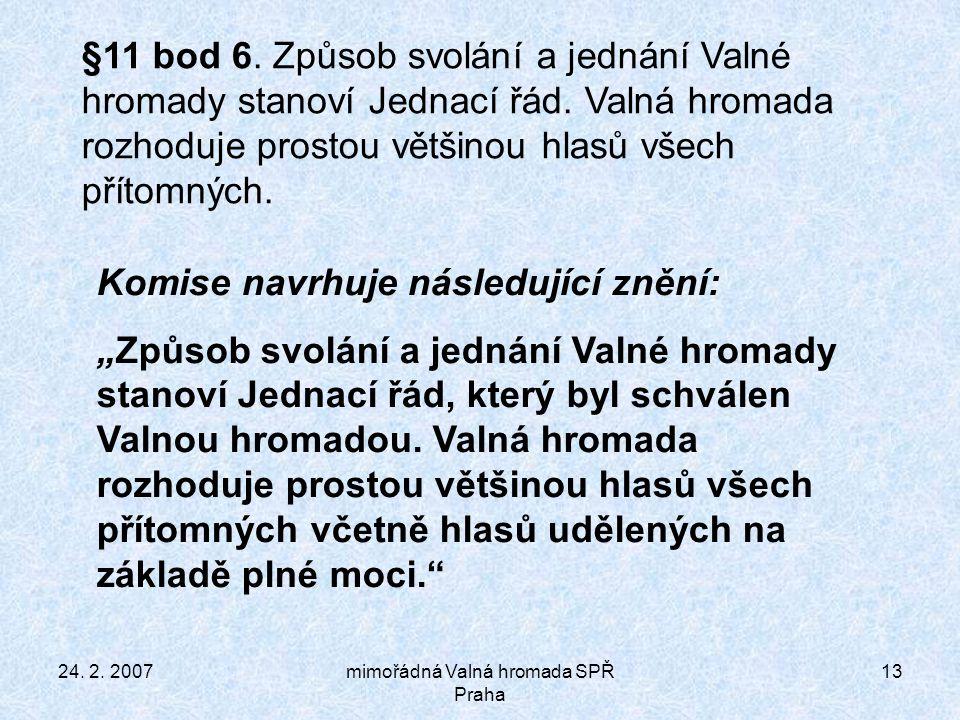 24. 2. 2007mimořádná Valná hromada SPŘ Praha 13 §11 bod 6.