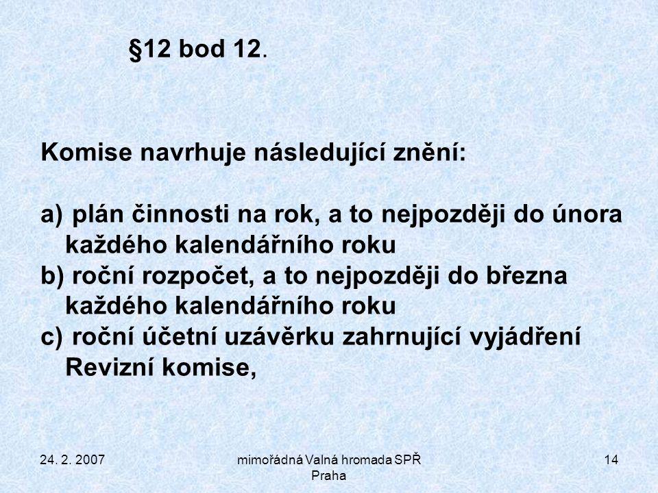 24. 2. 2007mimořádná Valná hromada SPŘ Praha 14 §12 bod 12.