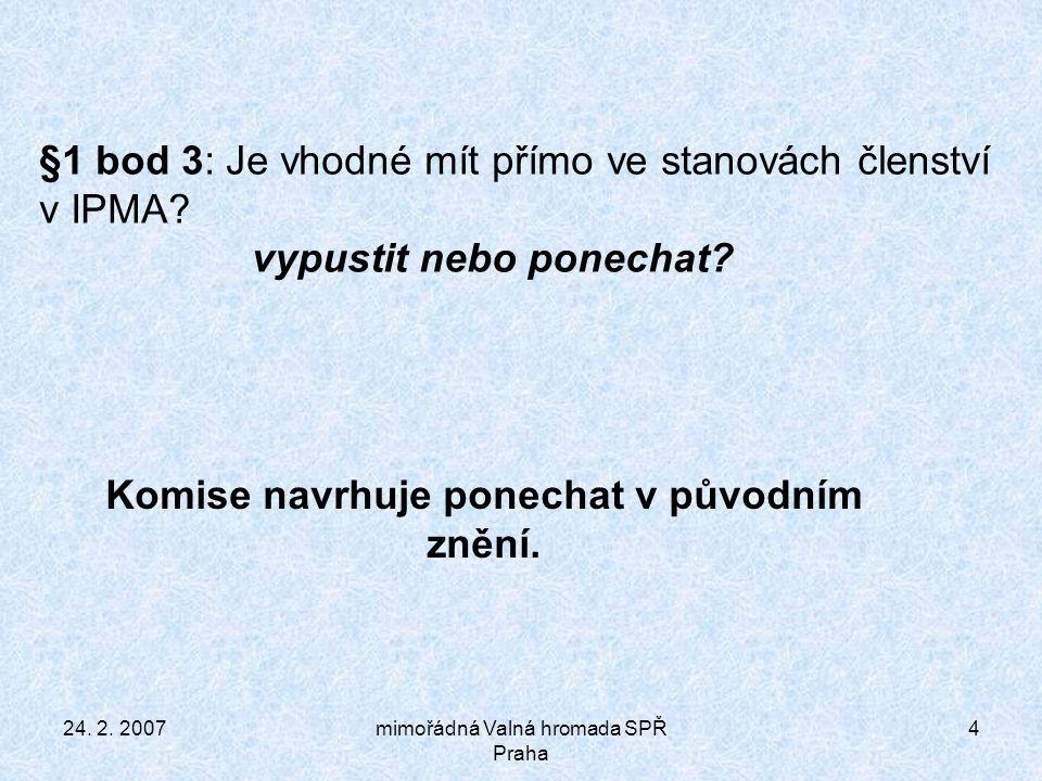 24.2. 2007mimořádná Valná hromada SPŘ Praha 15 §12 bod 15.