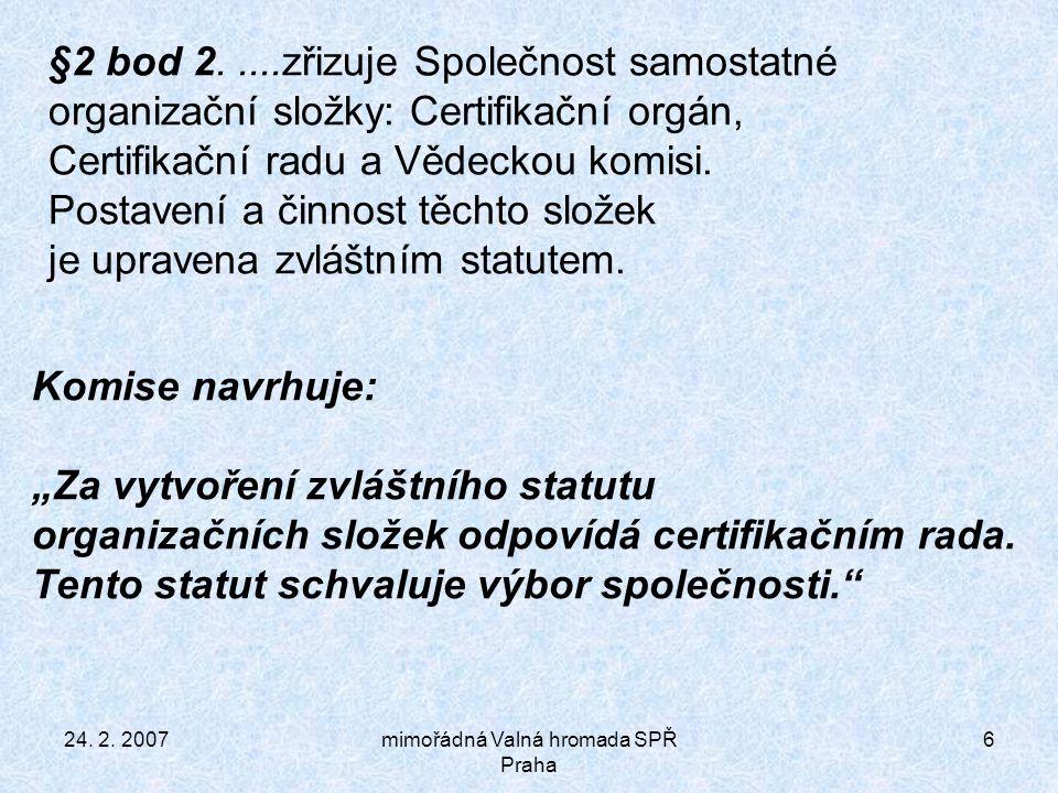 24.2. 2007mimořádná Valná hromada SPŘ Praha 17 §17 bod 3.
