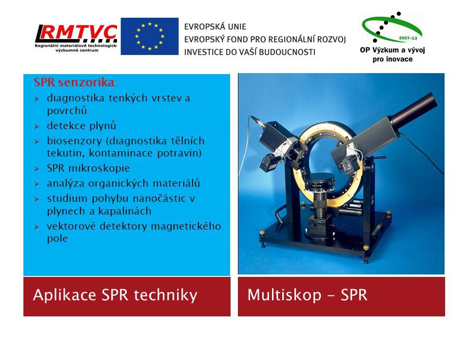 Aplikace SPR technikyMultiskop - SPR SPR senzorika:  diagnostika tenkých vrstev a povrchů  detekce plynů  biosenzory (diagnostika tělních tekutin,