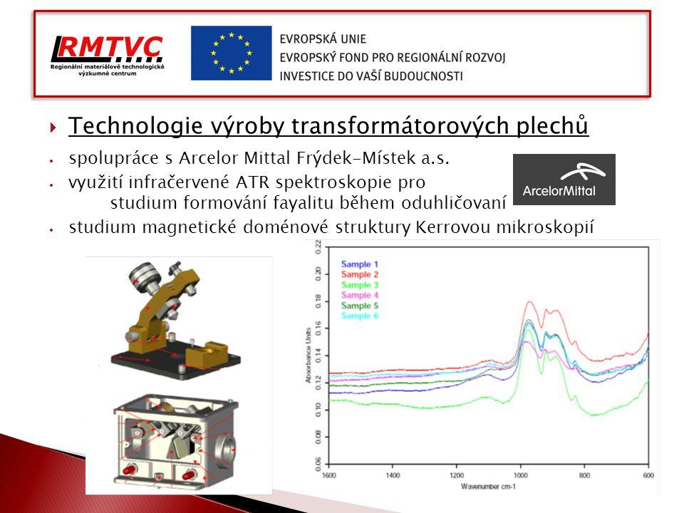  Technologie výroby transformátorových plechů  spolupráce s Arcelor Mittal Frýdek-Místek a.s.  využití infračervené ATR spektroskopie pro studium f