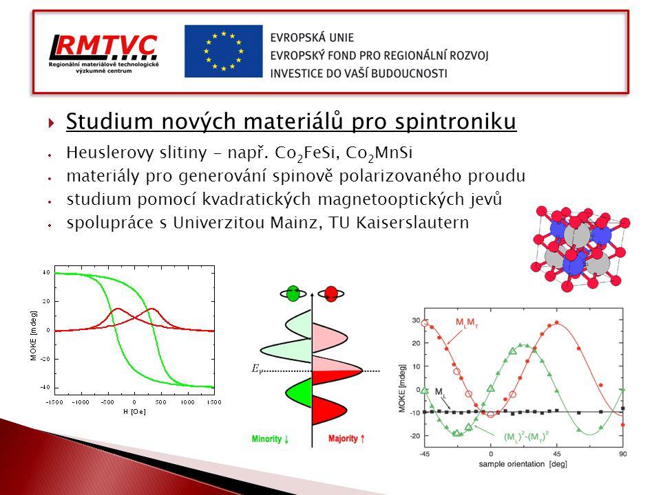  Studium nových materiálů pro spintroniku  Heuslerovy slitiny - např. Co 2 FeSi, Co 2 MnSi  materiály pro generování spinově polarizovaného proudu
