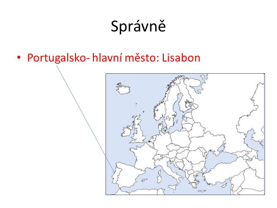 Správně Portugalsko- hlavní město: Lisabon