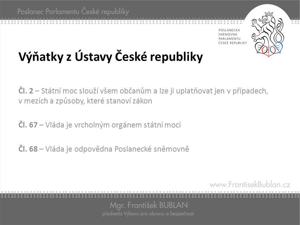 Výňatky z Ústavy České republiky Čl. 2 – Státní moc slouží všem občanům a lze ji uplatňovat jen v případech, v mezích a způsoby, které stanoví zákon Č