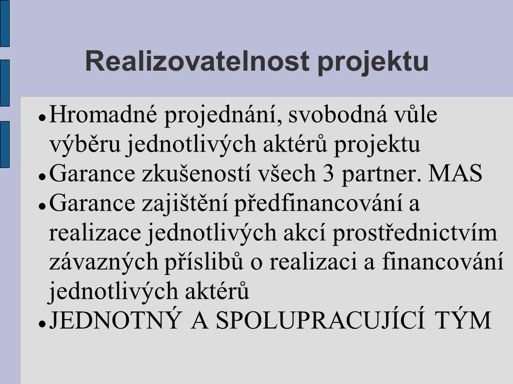 Realizovatelnost projektu Hromadné projednání, svobodná vůle výběru jednotlivých aktérů projektu Garance zkušeností všech 3 partner.