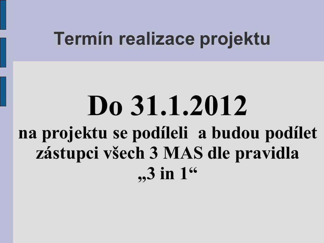 """Termín realizace projektu Do 31.1.2012 na projektu se podíleli a budou podílet zástupci všech 3 MAS dle pravidla """"3 in 1"""