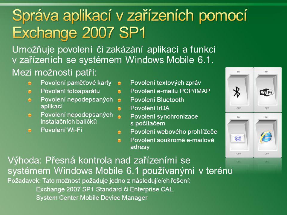 Umožňuje povolení či zakázání aplikací a funkcí v zařízeních se systémem Windows Mobile 6.1. Mezi možnosti patří: Povolení paměťové karty Povolení fot