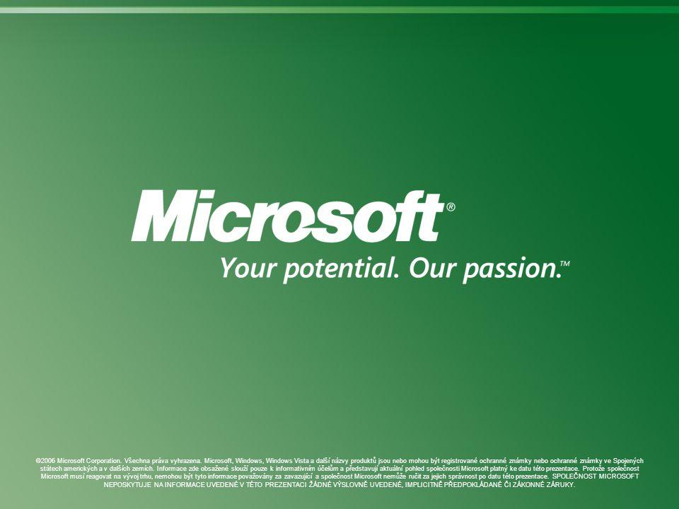 ©2006 Microsoft Corporation. Všechna práva vyhrazena. Microsoft, Windows, Windows Vista a další názvy produktů jsou nebo mohou být registrované ochran