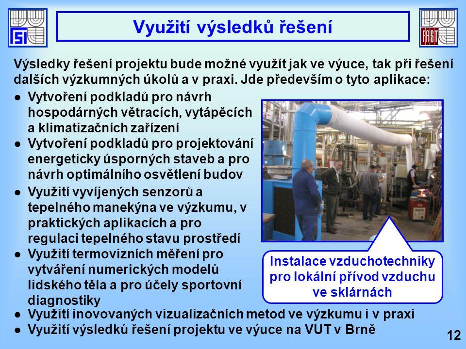 12 Využití výsledků řešení ●Vytvoření podkladů pro návrh hospodárných větracích, vytápěcích a klimatizačních zařízení ●Vytvoření podkladů pro projekto
