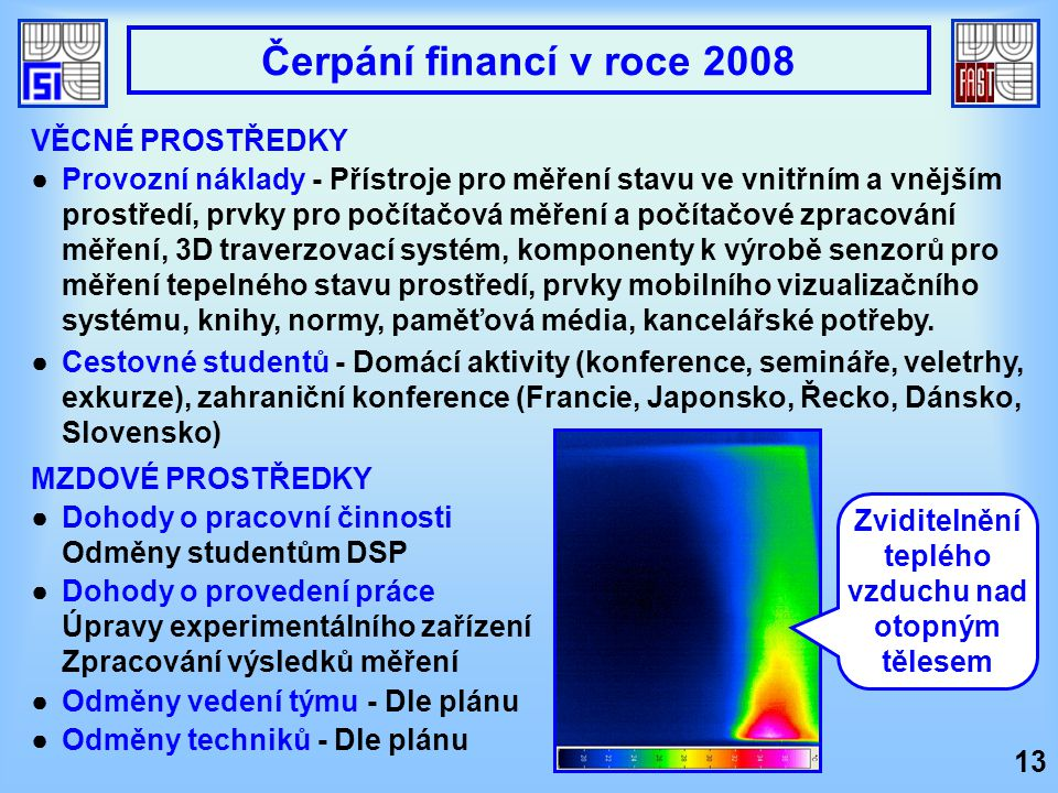 VĚCNÉ PROSTŘEDKY ●Provozní náklady - Přístroje pro měření stavu ve vnitřním a vnějším prostředí, prvky pro počítačová měření a počítačové zpracování m