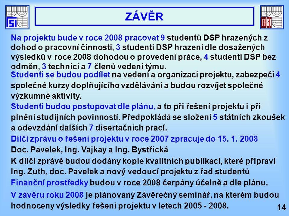 Dílčí zprávu o řešení projektu v roce 2007 zpracuje do 15. 1. 2008 Doc. Pavelek, Ing. Vajkay a Ing. Bystřická K dílčí zprávě budou dodány kopie kvalit