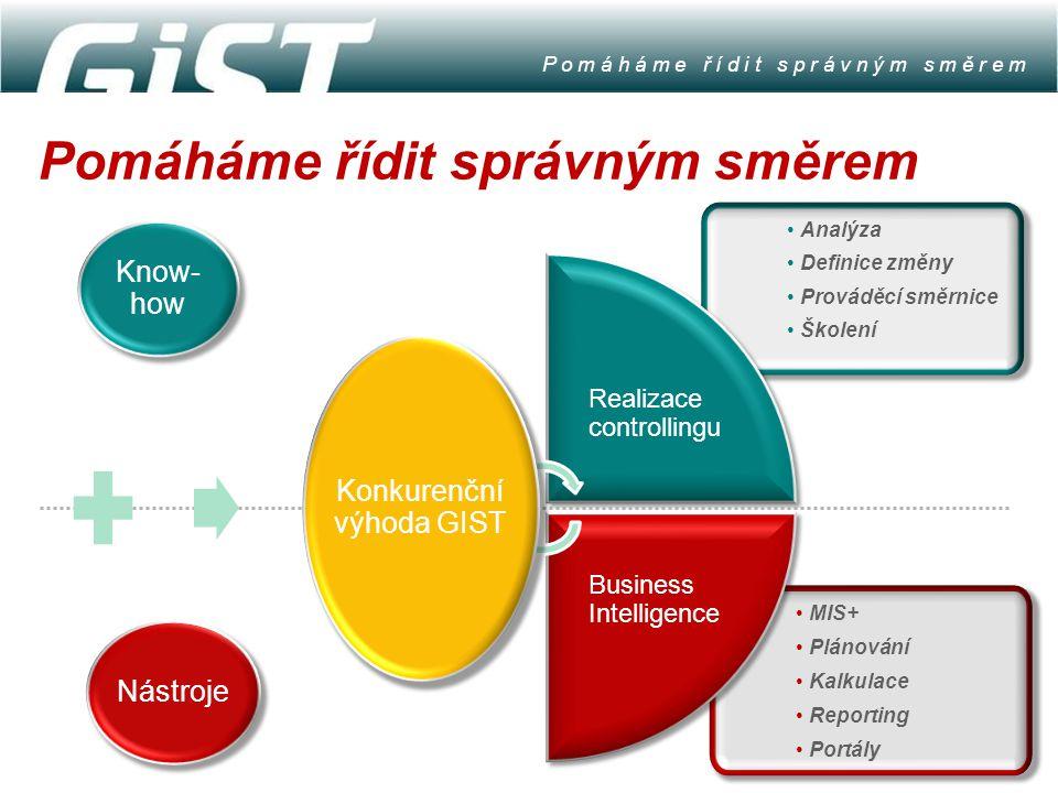 Nástroje Know- how MIS+ Plánování Kalkulace Reporting Portály Analýza Definice změny Prováděcí směrnice Školení Realizace controllingu Business Intell