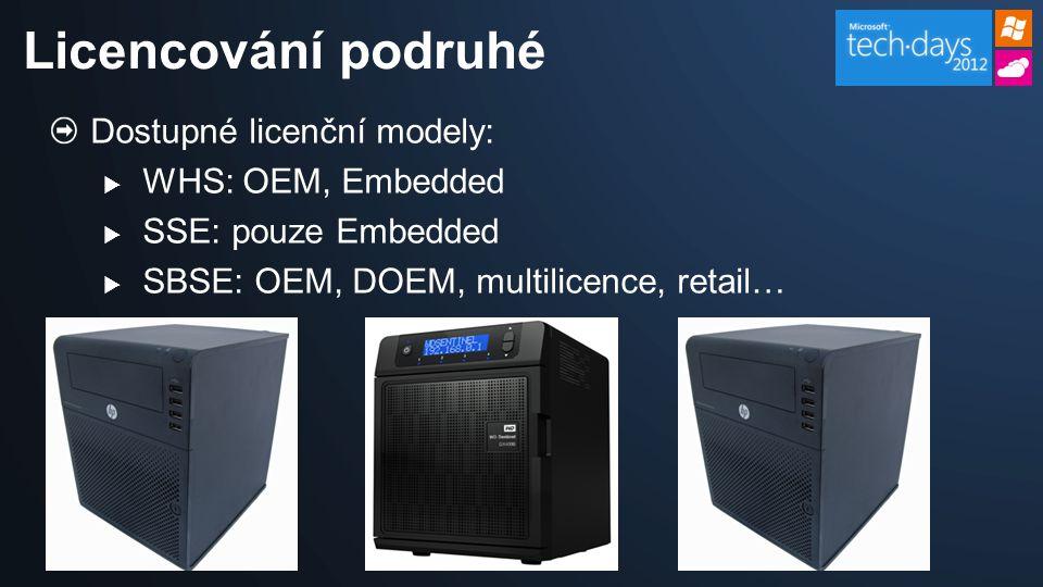 Dostupné licenční modely:  WHS: OEM, Embedded  SSE: pouze Embedded  SBSE: OEM, DOEM, multilicence, retail… Licencování podruhé
