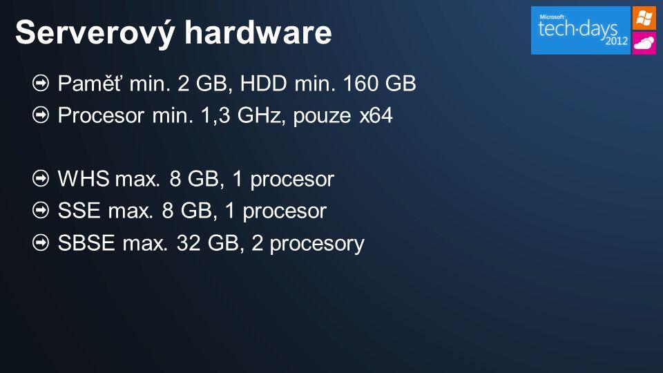 Paměť min. 2 GB, HDD min. 160 GB Procesor min. 1,3 GHz, pouze x64 WHS max.