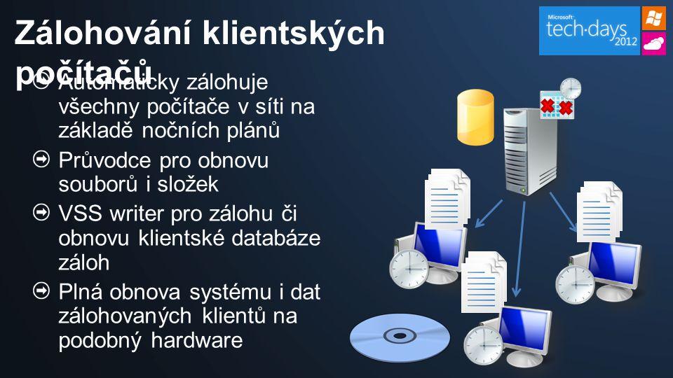 Automaticky zálohuje všechny počítače v síti na základě nočních plánů Průvodce pro obnovu souborů i složek VSS writer pro zálohu či obnovu klientské databáze záloh Plná obnova systému i dat zálohovaných klientů na podobný hardware Zálohování klientských počítačů