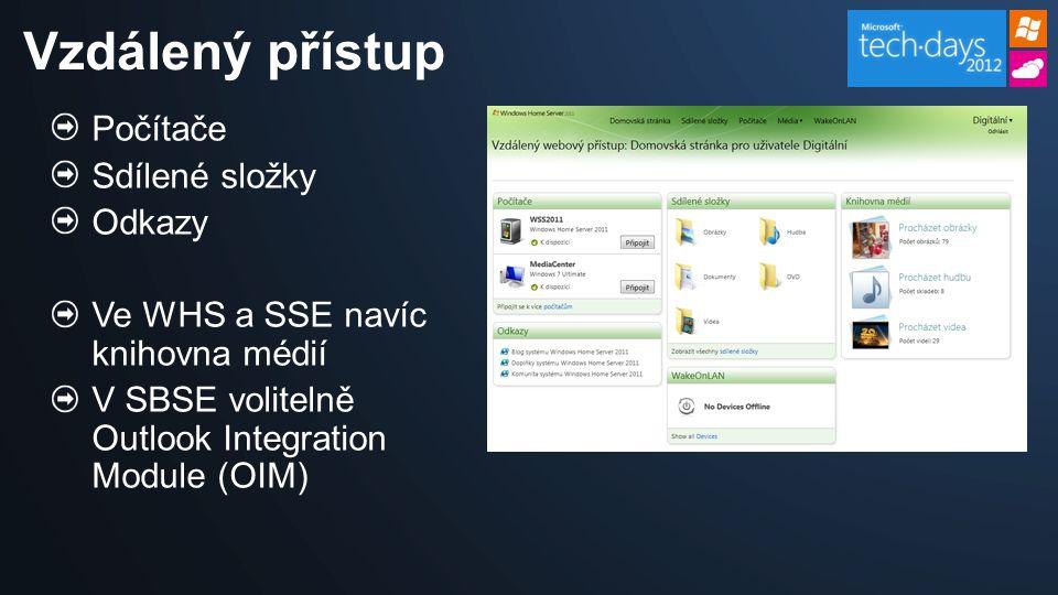 Počítače Sdílené složky Odkazy Ve WHS a SSE navíc knihovna médií V SBSE volitelně Outlook Integration Module (OIM) Vzdálený přístup