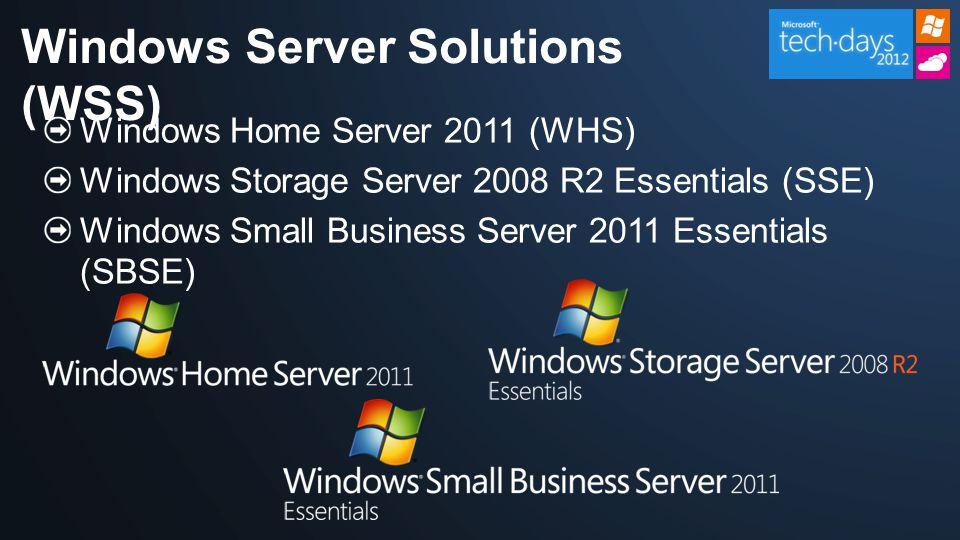 Porovnání Windows Server SMB produktů WHS 2011SSE 2008 R2SBS 2011 EssentialsSBS 2011 StandardFoundationWS08 Std Market Uživatelů1025 7515Bez limitu DostupnostEmbedded, OEMEmbeddedVše OEMVše Hlavní zákazníkDomácnostSBVAP/SB SBVAP/SB Hard ware Paměť max.8 GB 32 GB 8GB32GB CPU1 CPU 2 CPU4 CPU1 CPU4 CPU Software Souborové sdílení (SMB & NFS)Ano Síťové služby (DNS, IIS & DHCP)--Ano Monitoring zdravíAno -- Active Directory--Ano Vzdálený přístupAno Záloha serveruAno Záloha klientských PCAno --- Media StreamingAno ---- Virtualizace (Hyper-V host support)--**-Ano Připojení domény-AnoJen vytvoření Ano Podpora aplikací (LOB a další)--Ano, většina Ano Správa rolíTéměř žádná Zjednodušená Flexibilní Přidané služby/aplikace-- Žádné součástí, podporuje cokoliv; integrace s online službami Ano, Exchange, WSS, WSUS, SQL* součástí, podporuje cokoliv Žádné součástí, podporuje cokoliv První/druhý serverJen prvníObojíJen první Obojí