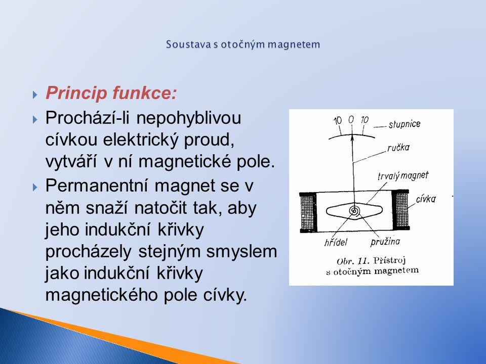  Princip funkce:  Prochází-li nepohyblivou cívkou elektrický proud, vytváří v ní magnetické pole.  Permanentní magnet se v něm snaží natočit tak, a