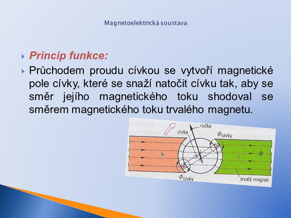  Princip funkce:  Průchodem proudu cívkou se vytvoří magnetické pole cívky, které se snaží natočit cívku tak, aby se směr jejího magnetického toku s
